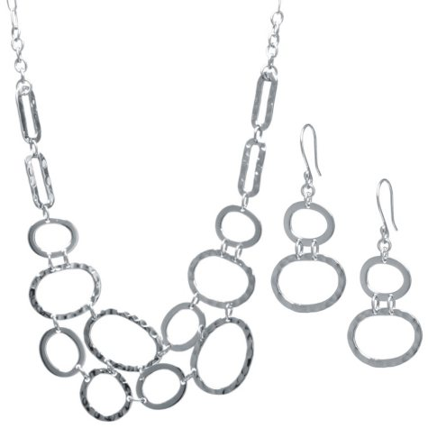 Sterling Silver Hammered Oval Necklace and Earring Set