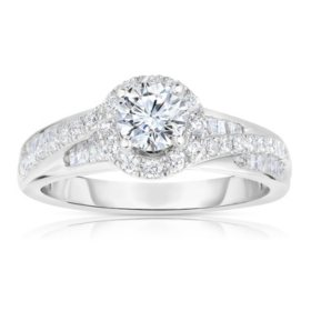 1 CT. T.W. Diamond Engagement Halo Ring with Round-Cut Center in 14K Gold (HI, I1)