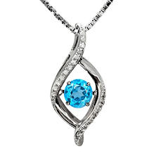 "Sterling Silver Blue Topaz and .09 ct. t.w. Diamond ""Motion"" Pendant"