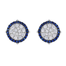 0.95 CT. TW. Diamond & Sapphire Earrings in 14K White Gold