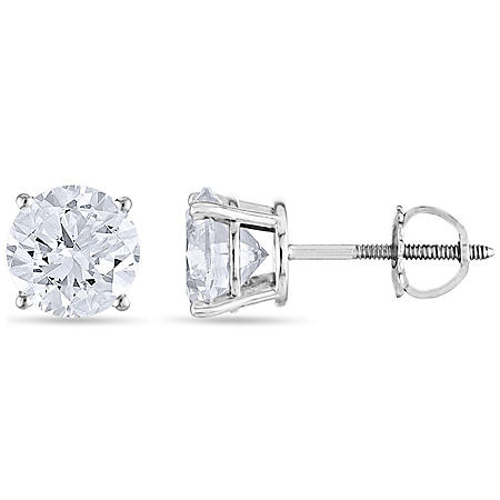 1.45 CT. T.W. Round Diamond Stud Earrings in 14k Gold