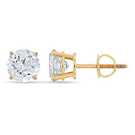 254955767 1.95 CT. T.W. Round Diamond Stud Earrings in 14k Yellow Gold - Sam's ...