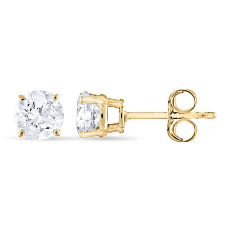 0.96 CT. T.W. Round Diamond Stud Earrings in 14k White or Yellow Gold (I, I1)