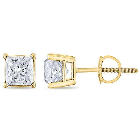 1.45 CT. T.W. Princess Diamond Stud Earrings in 14K Gold (H-I, SI2)