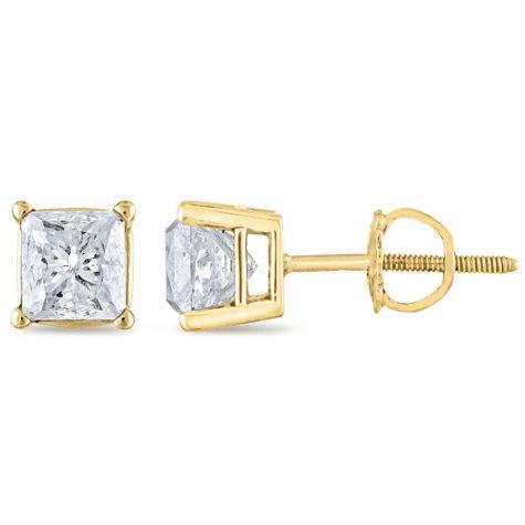 1.45 CT. T.W. Princess Diamond Stud Earrings in 14K Yellow Gold (H-I, SI2)