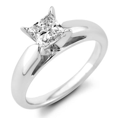 0.72 ct. Princess Diamond Solitaire Ring in 14k White Gold (F, I1)