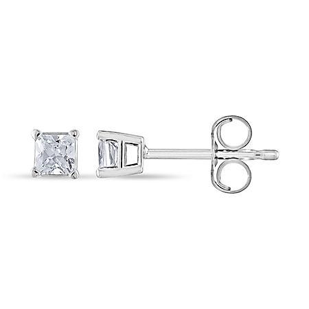 0.23 CT. T.W. Princess Diamond Stud Earrings in 14k Gold (H-I, SI2)