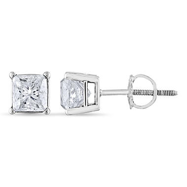 1.45 ct. t.w. Princess Diamond Stud Earrings in 14k White Gold (H-I, SI2)