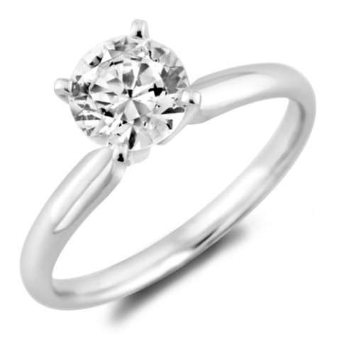 0.96 ct. Round Diamond Solitaire Ring in 14k White Gold with Platinum Head (H-I, SI2)