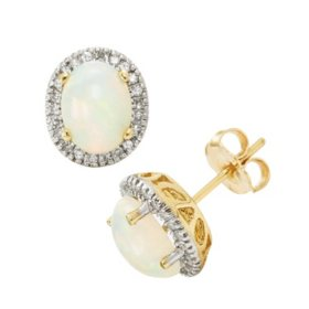 Oval Opal Earrings in 14K Yellow Gold