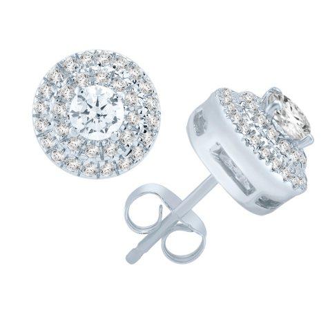 1.00 CT T.W. Diamond 14K White Gold Stud Earrings (I, I1)
