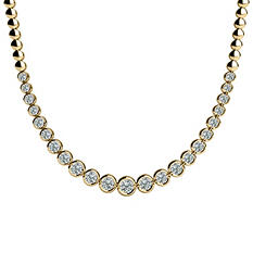 4 CT. TW. Bezel Set Diamond Riviera Necklace in 14K Yellow Gold