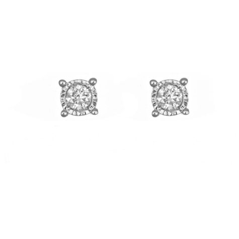 0.18 ct. t.w. Framed Round Diamond Stud Earrings in 14k White Gold (I, I1)