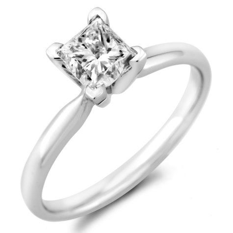 0.96 ct. Princess Diamond Solitaire Ring in 18k White Gold with Platinum Head (H, VS2)