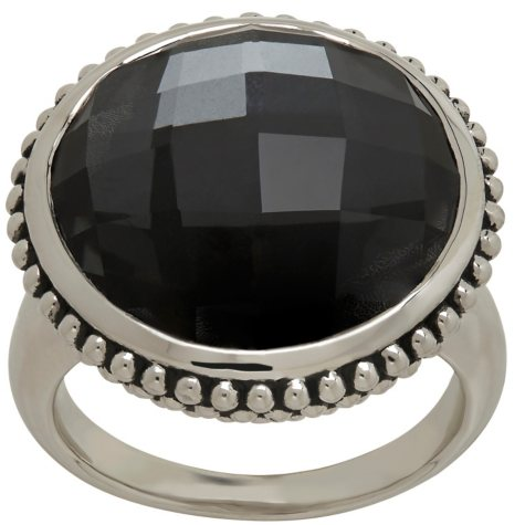 Town and Country Quartz and Black Hematite Doublet Ring in Sterling Silver