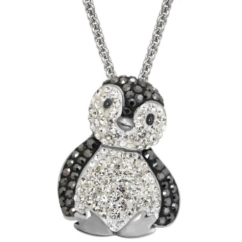 Black and White Crystal Penguin Pendant in Sterling Silver