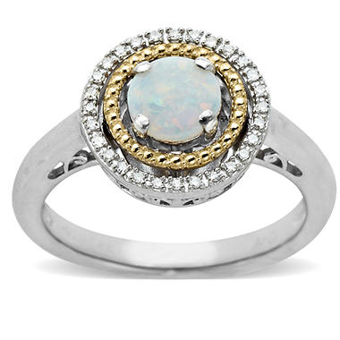Opal and Diamond Accent Birthstone Ring in Sterling Silver and 14k Yellow Gold