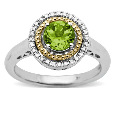 Peridot and Diamond Accent Birthstone Ring in Sterling Silver and 14k Yellow Gold