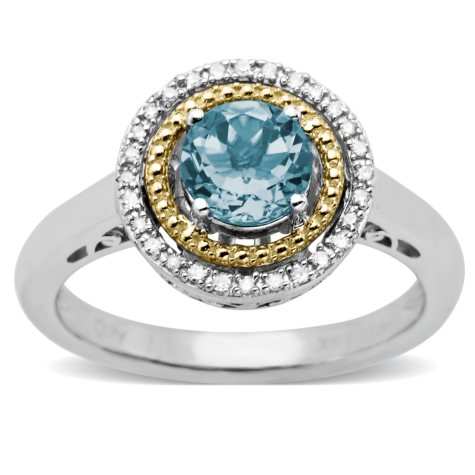 Aquamarine and Diamond Accent Birthstone Ring in Sterling Silver and 14k Yellow Gold