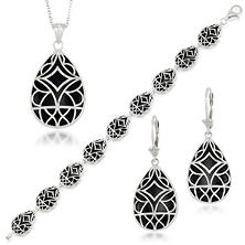 Sterling Silver Black Onyx Earring, Pendant and Bracelet Set