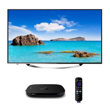 "Hitachi 55"" Class Ultravision 4K UHD LED TV with Roku 4 4K UHD Streaming Player"