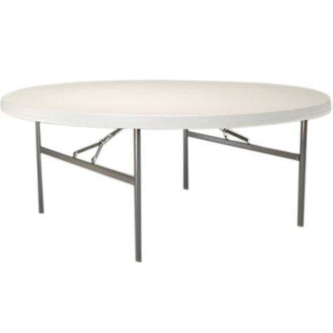 """Lifetime 72"""" Round Commercial Grade Folding Table, White Granite - 12 pack"""