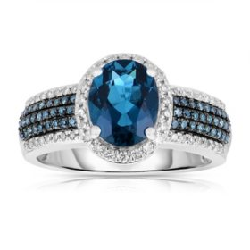 Oval Shaped London Blue Topaz Ring with Diamonds in 14K White Gold