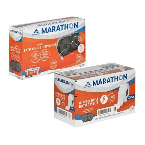 Marathon Twin Jumbo-Roll Bathroom Tissue Dispenser with 6 Bath Tissue Rolls