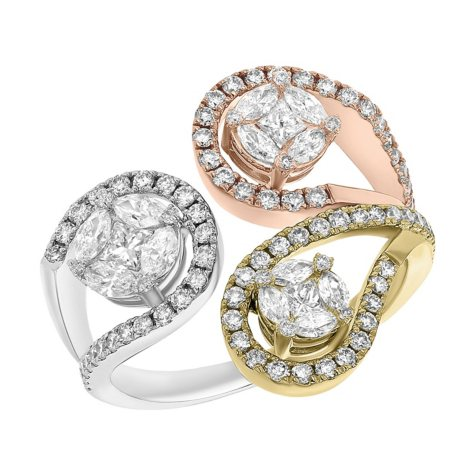 S Collection 1.35 CT. T.W. Tri Color Blended Gold Paisely Diamond Ring