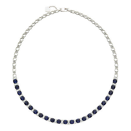 Sterling Silver Lab Created Blue and White Sapphire Necklace