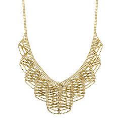 14K Yellow Gold Crisscross Beaded Drop Necklace
