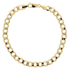 "14K Yellow Gold Curb Bracelet - 9"""