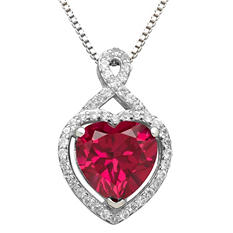 3.72 CT Lab Created Ruby and White Sapphire Heart Pendant in Sterling Silver