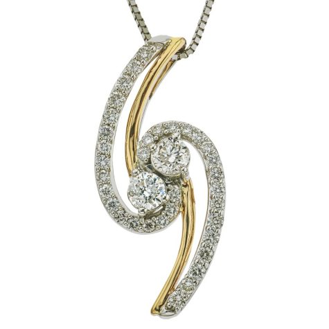 0.70 CT. T.W. Eternally US Diamond Pendant in 14K Two-tone Gold (I, I1)