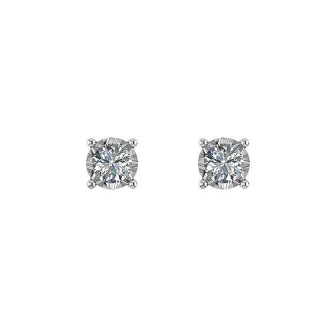 .13 CT. T.W. Diamond Solitaire Stud Earrings in 14K White Gold