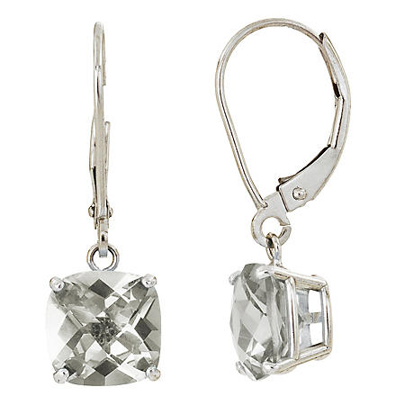 8 mm Cushion Cut White Topaz Dangle Leverback Earrings in 14K White Gold (5.0 ct. t.w.)