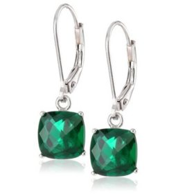 8 mm Cushion Cut Created Emerald Dangle Leverback Earrings in 14K White or Yellow Gold (4.0 ct. t.w.)