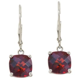 8 mm Cushion Cut Garnet Dangle Leverback Earrings in 14k White Gold (4.5 ct. t.w.)