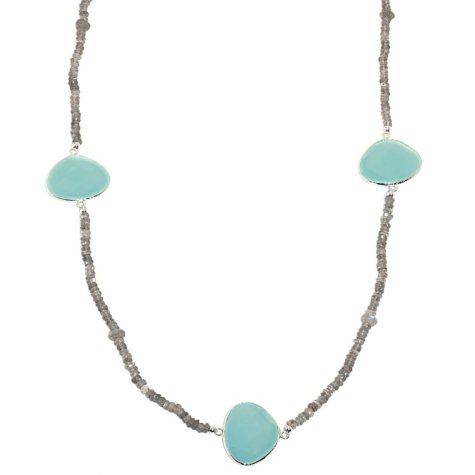 Amena K Aqua Blue Chalcedony and Labordorite Beaded Necklace