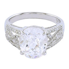White Topaz Ring with Diamond Accents in 14K White Gold