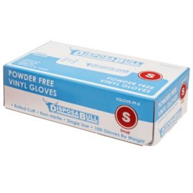 DisposaBull Powder-Free Vinyl Gloves, Choose Your Size