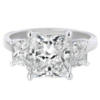 Premier Diamond Collection 4.79 CT. T.W. Princess Diamond Triple Stone Engagement Ring in Platinum - GIA & IGI (H, VVS2)