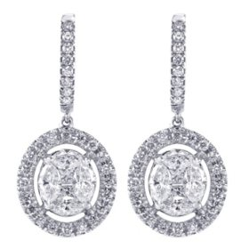 S Collection 1.65 CT. T.W. Diamond Composite Drop Earrings in 14K White Gold