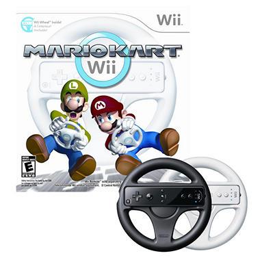 Wii Mario Kart w/ 2 Wii Wheels (1 White and 1 Black)