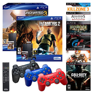 ps3 bundle with 320gb console infamous 2 or uncharted 3 dualshock 3 controller blu ray remote. Black Bedroom Furniture Sets. Home Design Ideas