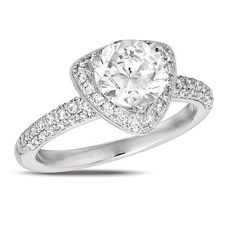 2.00 ct. t.w. Diamond Pave Solitaire Triangular-Top 18K White Gold Ring (I, SI2)