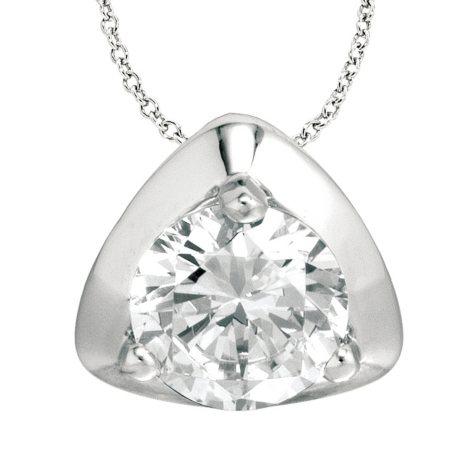 1.00 ct. Diamond Solitaire Triangular-Top 18K White Gold Pendant (I, SI2)