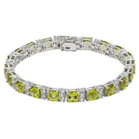 Sterling Silver Peridot and Created White Sapphire Bracelet