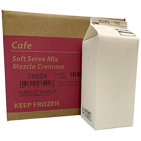 Vanilla Lowfat Frozen Yogurt Soft Serve Cafe Mix, Bulk Wholesale Case (1/2 gal., 6 pk.)