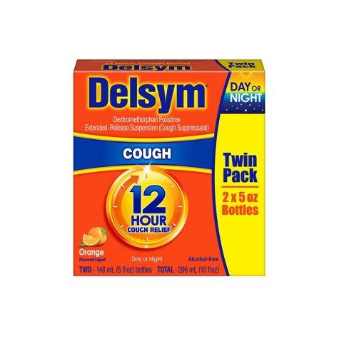 Delsym Adult Liquid Cough Suppressant, Orange or Grape (5 fl. oz., 2 pk.)